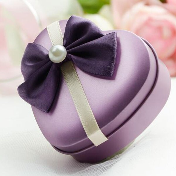 50pcs Wedding Event Lovely Cookie Tin Box with Pearl Accessories Heart Shape Candy Packing Case Color Mini Storage/Jewelry Boxes