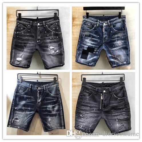 Il nuovo marchio di pantaloncini blu jeans lavati di qualità, i classici jeans blu a 5 punti, i jeans tagliati a mano, l'ultimo disegno di carte in pelle, fashio