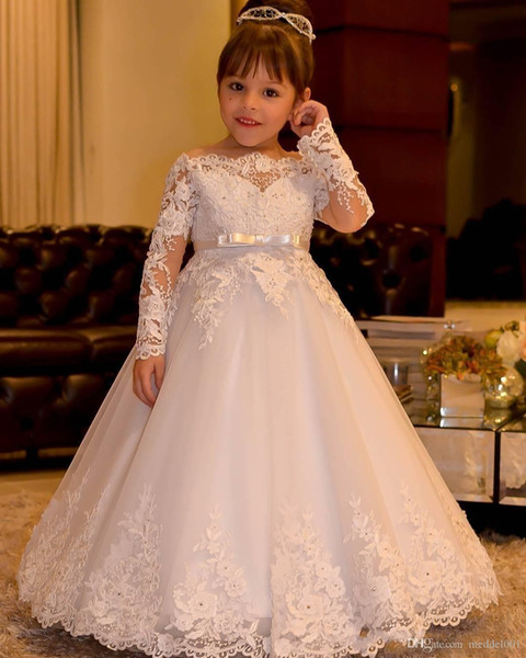 New Shoulder Off mangas compridas Flor Meninas Vestidos com Faixa rendas princesa apliques Tulle Meninas Pageant Vestidos Backless do vestido de casamento