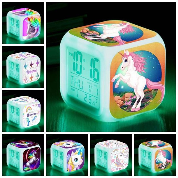 7 Styles Unicorn Alarm Clock Unicorn Digital Desk Unicorn Square Alarm Clock with LED Screen Desk Clock Table Clocks CCA11071 30pcs