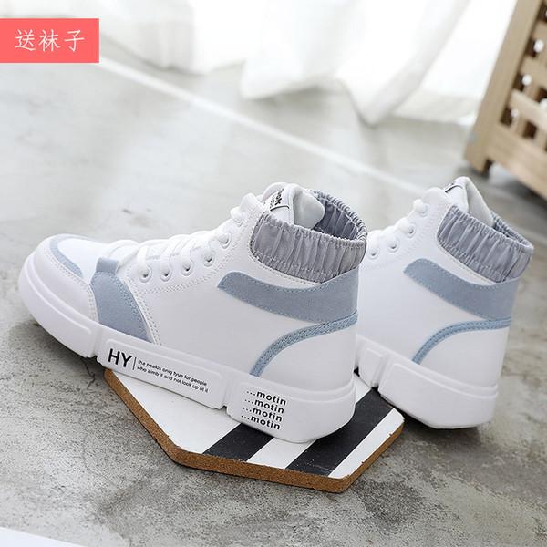 0caa401f 2018 Nueva primavera y otoño High-Up Leisure Board zapatos de mujer de cuero  de