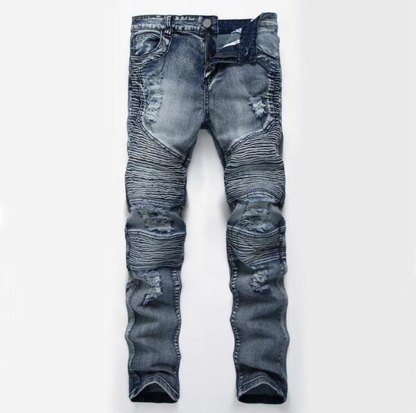 Los tobillos de los hombres pantalones vaqueros delgados de la longitud del tobillo Pantalones de lápiz rasgados del verano Pantalones vaqueros para hombre del dril de algodón ocasionales