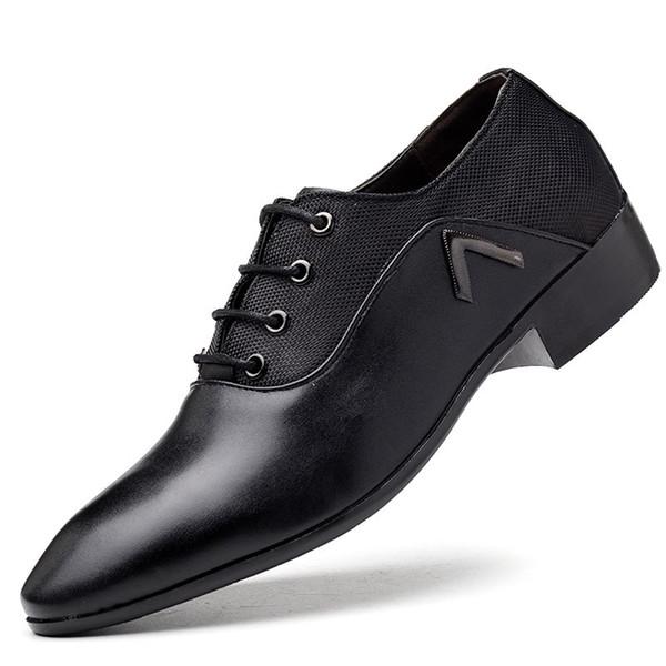 Hombres zapatos formales transpirables con cordones de negocios plana dedo del pie puntiagudo zapatos de boda de cuero de la PU vestido masculino HH-629
