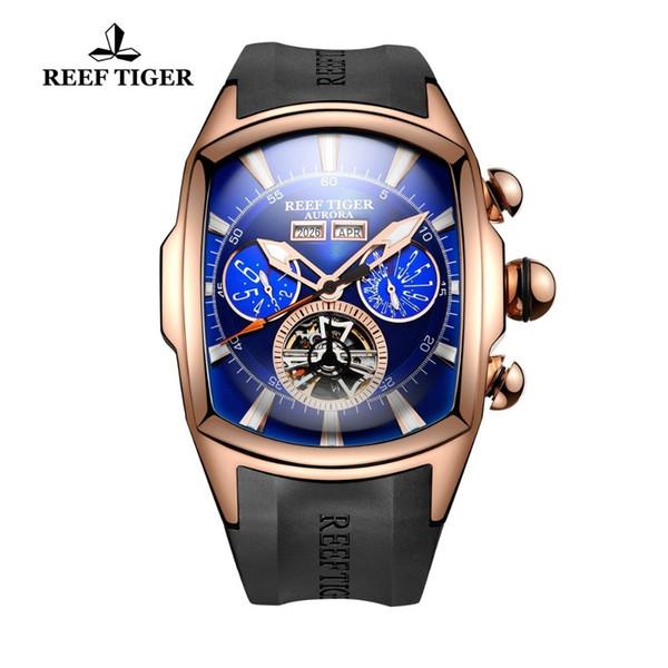 Reef Tiger / RT Big Sportuhr Herren Luminous Analog Tourbillon Uhren Top-Marke Blue Rose Gold Uhr Relogio Masculino Rga3069 MX190725