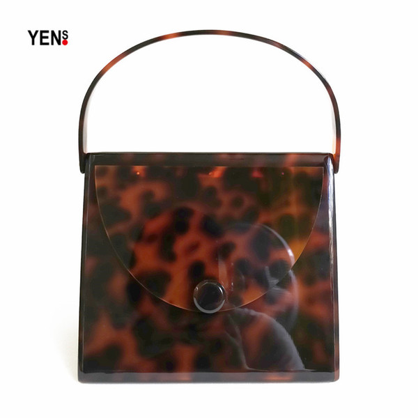 Fashion Brand Designer Women New Wallet Acrylic Amber Luxury Evening Bags Elegant Leopard Print Party Prom Handbag Casual Clutch