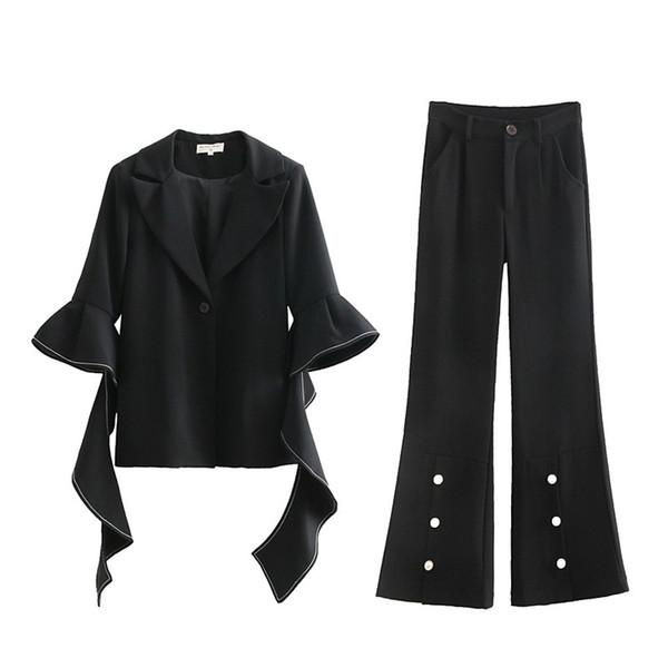 2019 European Spring Clothes 2 Piece Set Women Elegant Flare Sleeve Sexy Deep V Collar Coat High Waist Pant Suit Female QH219