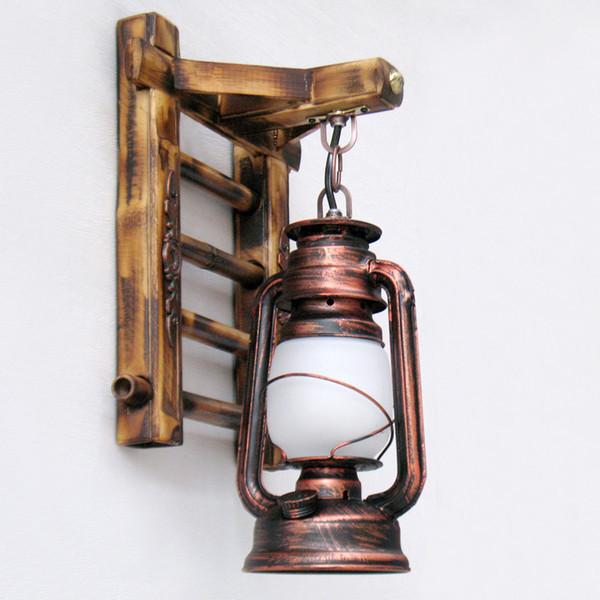 Chinois Styl bambou échelle Lampes de mur lanterne grange Vintage lampe à huile kérosène d'éclairage rustique Sconces luminaire mur Matty