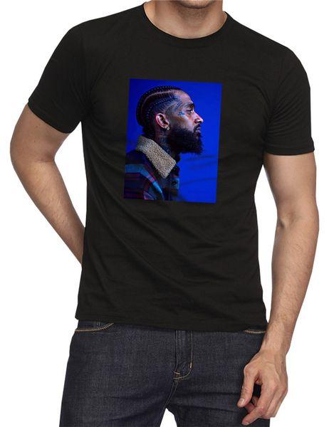 Rapper Nipsey Hussle Souvenir Crenshaw Manica corta Designer di moda da uomo TShirts Plain Black Head Portrait Tshirt