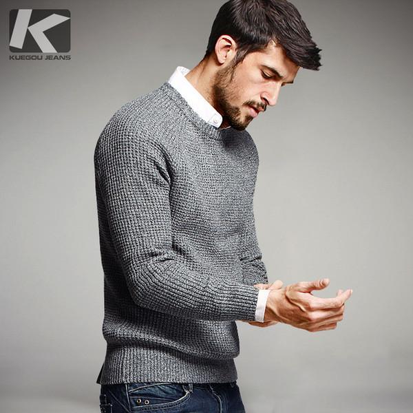KUEGOU 2019 Automne 100% coton Pull Hommes Pull Jumper Casual Homme Marque Tricoté vêtements de style coréen Plus Size 14012 SH190928