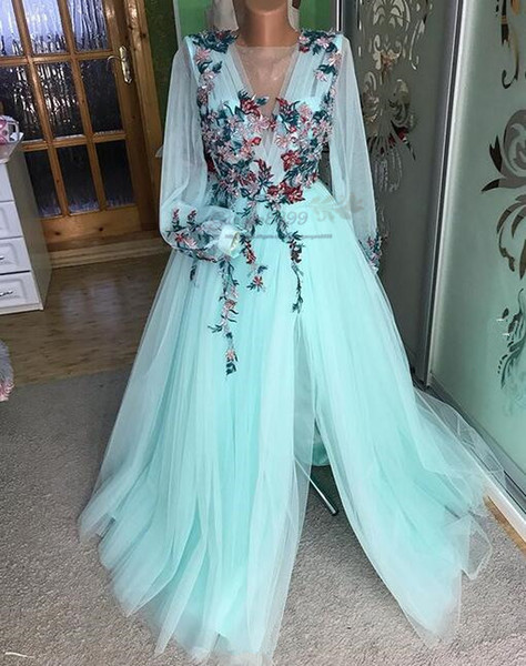 2019 fairy sage Illusion Evening Dresses sexy side split tulle Lace Embroidery prom gowns sheer long sleeves boho arabic Party Dress gowns