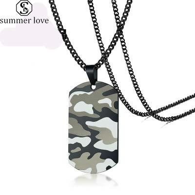 Stainless Steel Camouflage Military Tag Necklace for Men Military Fan High Quality Military Air Force Navy Warrior Necklace