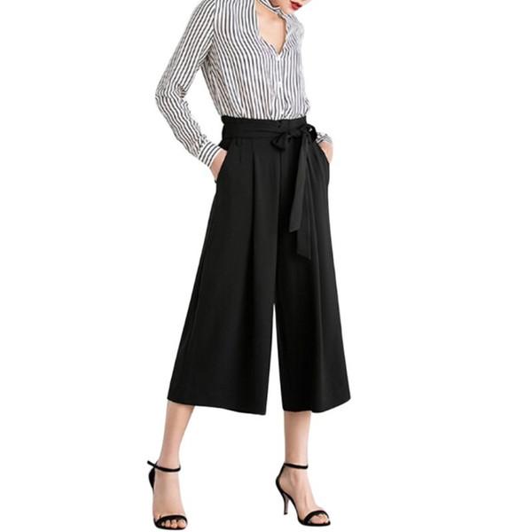 Elástico de Cintura Alta Gravata Arco Cropped Perna Larga Calças Mulheres Casuais Soltas Plissadas Calças C19041701