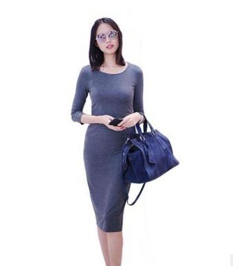 Básico Delgado Ocasional Vestido 2018 Royal Blue Elegant mujeres Trabajo Bodycon Midi Vestidos de Moda de Nueva Media Manga Solid vestido