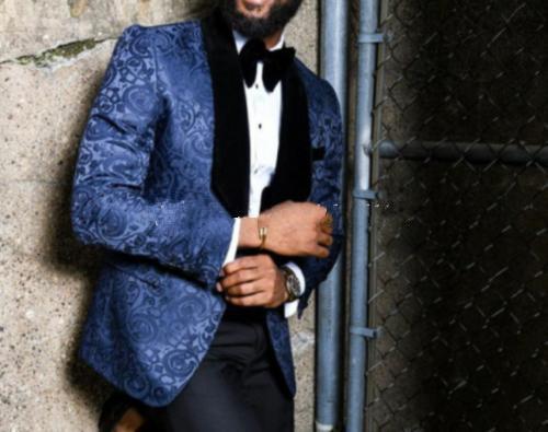 New Popular Handsome One Button Blue Patterns Wedding Groom Tuxedos Shawl Lapel Groomsmen Men Suits Prom Blazer (Jacket+Pants+Tie) 246