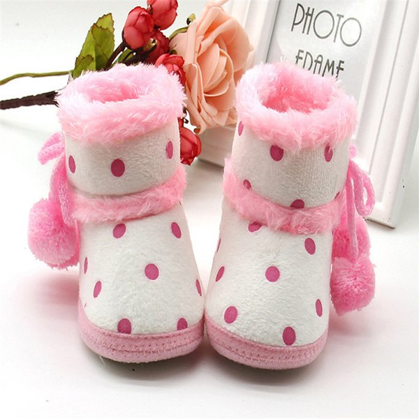 1 Pair Baby Girl Boots Baby Girl Dot Printed Bowknot Soft Sole Snow Boots Soft Crib Shoes Toddler winter Boots bota infantil D10