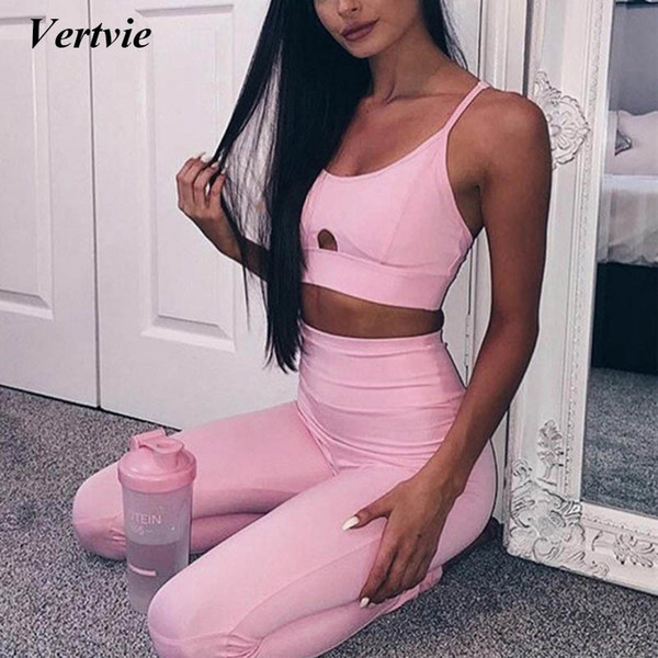 Vertvie Sexy Sport Suit Pink Black Hollow Women's Tracksuit Push Up Yoga Bra Vest +pants Leggings Fitness Gym Sportwear C19041201
