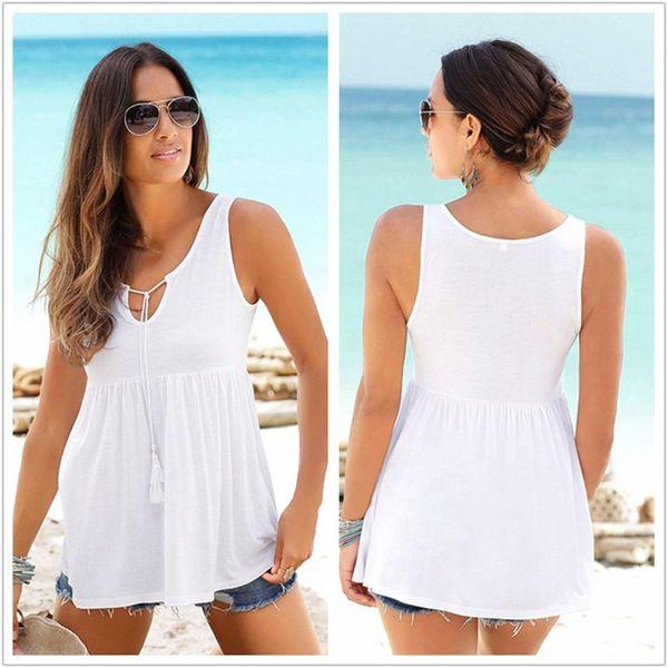 Летние повседневные женские хлопчатобумажные майки 2019 Новые сплошные кисточки-майки Плюс размер Женская белая футболка S-2XL Женская хлопковая футболка