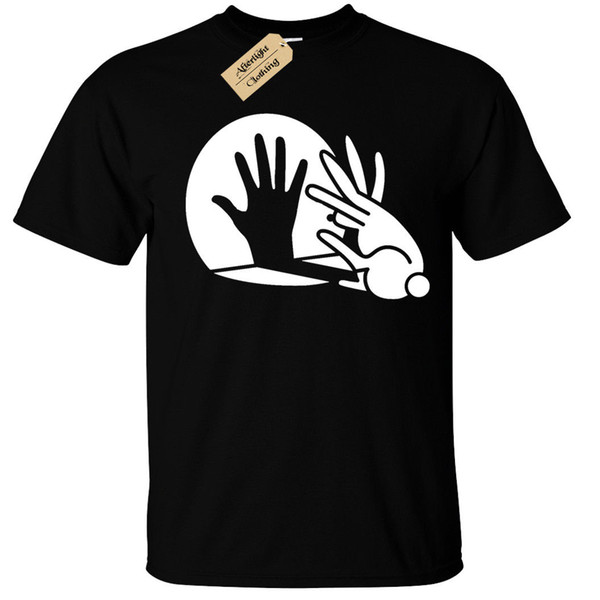 Rabbit Hand Shadow Puppet T-Shirt Funny Cool Mens Men Women Unisex Fashion tshirt Free Shipping