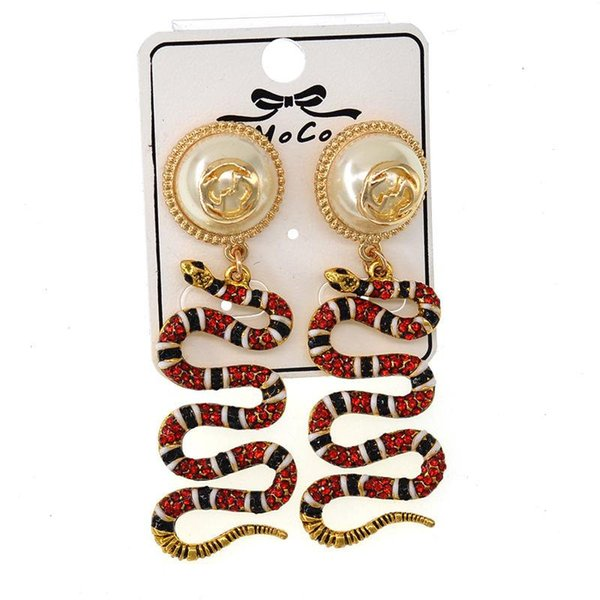 Rote Schlange Anhänger Ohrringe Damenmode Baumeln Ohrring Tier Anhänger Herrschsüchtige Ohrringe Schönheit Feine Perle Ohrringe Schmuck Liebhaber Geschenk
