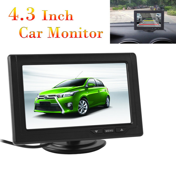 Freeshipping New 4.3 Inch Car Monitor TFT LCD 480 x 272 16:9 Screen 2 Way Video Input For Rear View Backup Reverse Camera