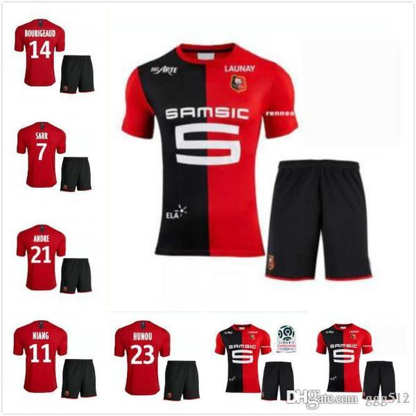 19 20 Stade Rennais casa camisa de futebol 2019 2020 Rennes maillot de pé # 7 Sarr # 11 Niang # 14 Bourigeaud # 21 Andre # 23 Hunou adulto terno footba