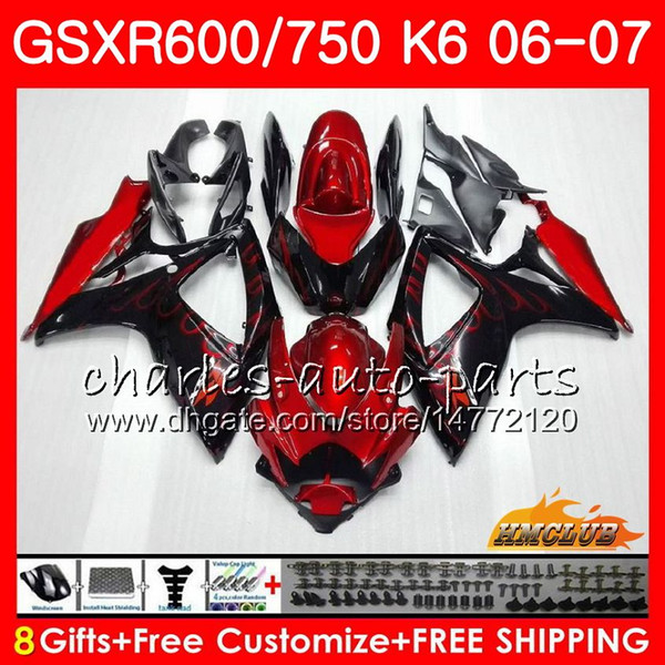 best selling Red flames Body For SUZUKI GSX R600 GSX-R750 GSXR-600 GSXR600 06-07 8HC.3 GSX R750 GSXR 600 750 06 07 K6 GSXR750 2006 2007 Fairing kit
