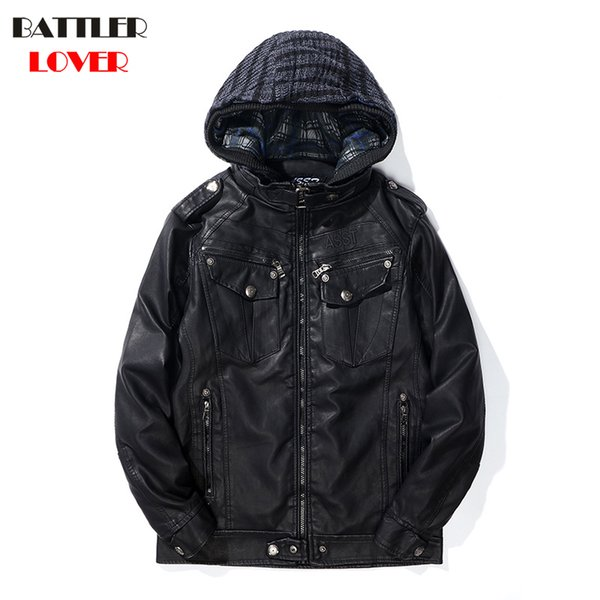 2018 Mens Winter Leather Coat Faux Leather Warm Outwear Coats Men Punk Hoody Parka Jackets Hombre Thick Overcoat Brand Clothing