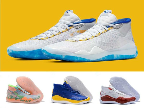 2019 New 12 Xii High Kd 35 Warriors Home White Blue Yellow Mens Basketball Shoes Men Sports Shoes Kd12 Sneakers Size40-46