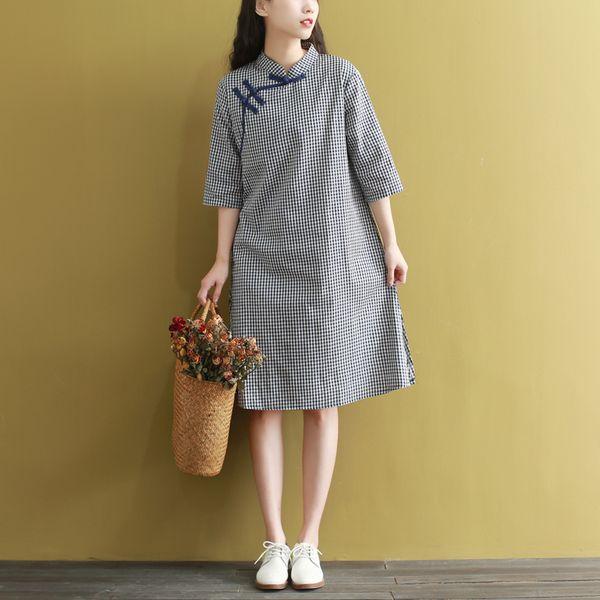 2019 женщины белье хлопок китайское платье cheongsam qipao платья короткие китайский элегантный Vestido женщин Атлас Qipao