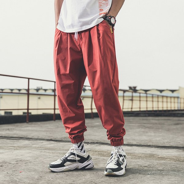 Spring Autumn Fashion Men Joggers Pants Black Wine Red Sweatpants Male Korean Trousers Casual Loose Harem Track Pants