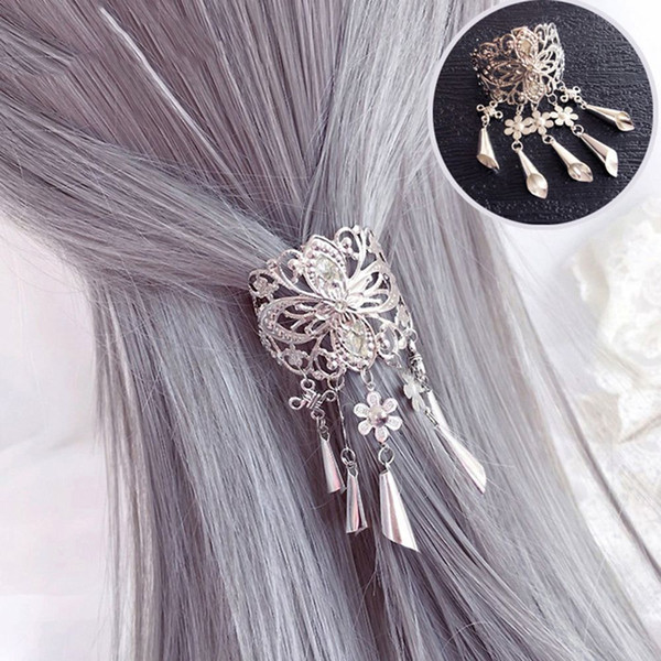 Retro Hollow Alloy Hair Clips Crystal Tassel Pendant Hair Pins Accessories styling tools for women beautiful gift