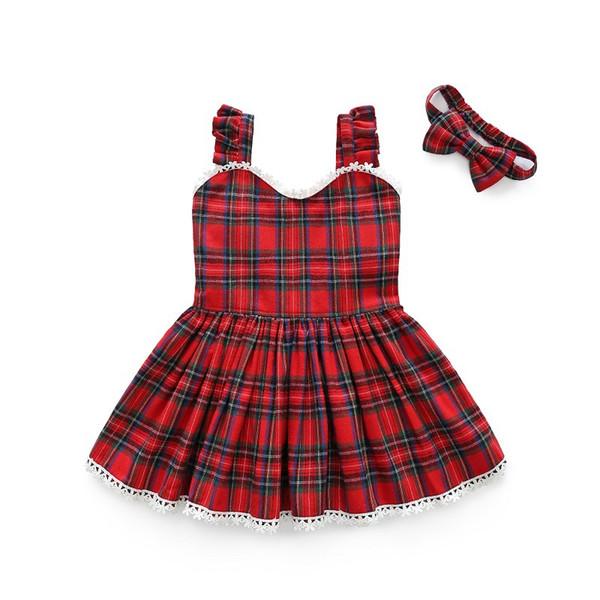 2019 girls' dress spring plaid lace suspender princess skirt child hair belt children's skirt