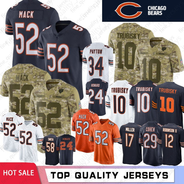 ebdbdae101945 Chicago 52 Khalil Mack Bears Jersey 10 Mitchell Trubisky 58 Roquan Smith 24  Howard 89 Mike
