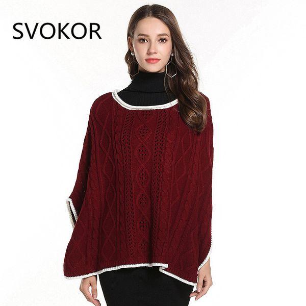 SVOKOR Maglione da donna invernale in tinta unita con cuciture cucite allentato manica a cinque punti mantello maglione di cotone caldo casual