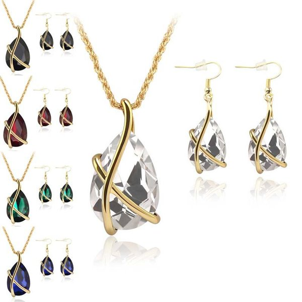 Diamond Crystal Drop Necklace Earrings Jewelry Sets Gold Cage Ear Cuff Pendant Chains Wedding Jewelry Gift for Women 2020 hot sale