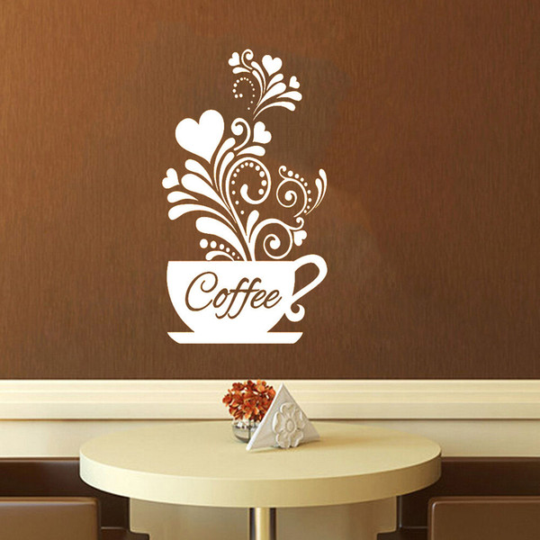 Coffee Cup Carved Flowers Wall Stickers Kicthen Restaurant Coffee Store Decoration Poster Home Decor Self-adhesive PVC Art Mural