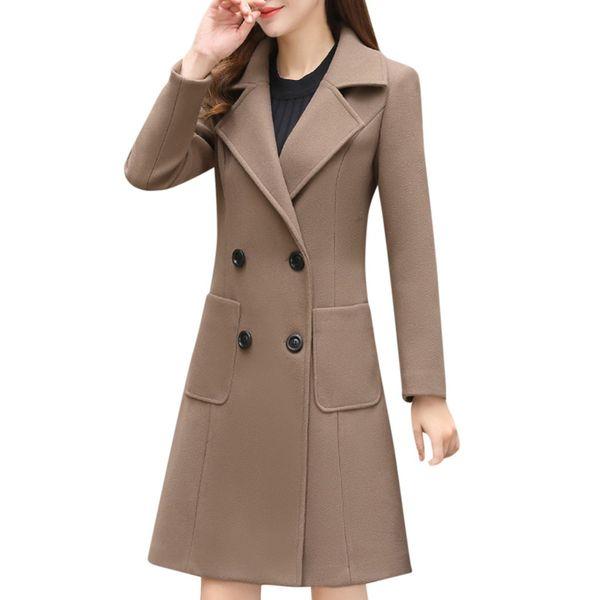 FREE OSTRICH New Thin Wool Blend Coat Women Long Sleeve Turn-down Collar Outwear Jacket Casual Autumn Winter Elegant Overcoat