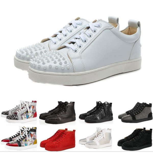 Designer Brand Red Bottom Studded Spikes Flats shoes For Men Women black white blue Party Lovers Genuine Leather casual Sneakers on sale
