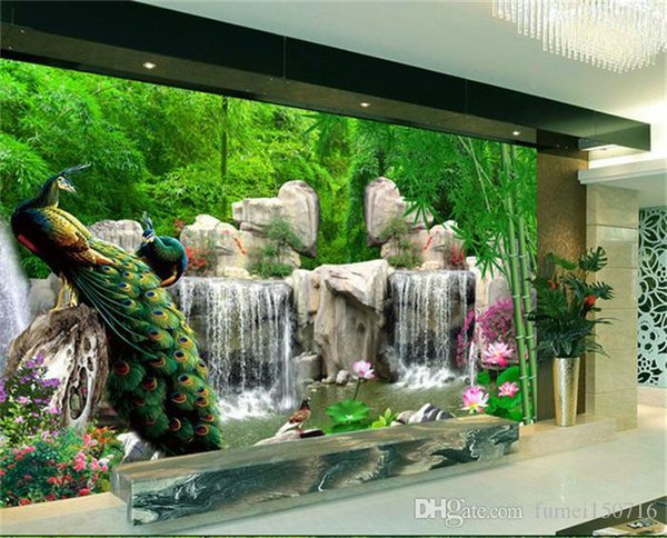 3d Wall Mural Natural Scenery Wallpaper Landscape Bamboo Forest Falls Peacock Bedding Room 3d Non Woven Wall Paper Tv Background Digital Wallpaper