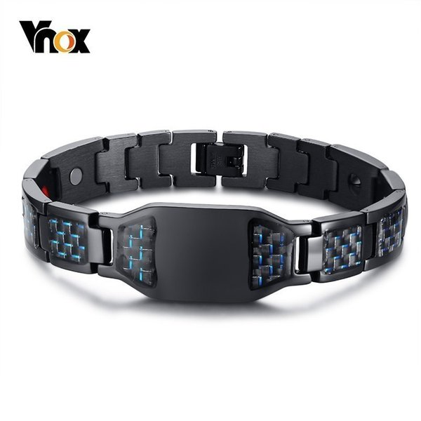 "Vnox Health Energy Carbon Fiber Bracelets Bangles For Men Jewelry Stainless Steel Bio Magnetic Pulseira Masculina 8.26"" Y19051101"