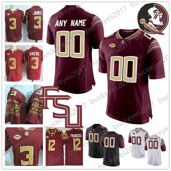 Custom Florida State Seminoles Football FSU white red black Stitched Any Name Number Jersey #23 Akers 12 Deondre Francois 1 James Blackman