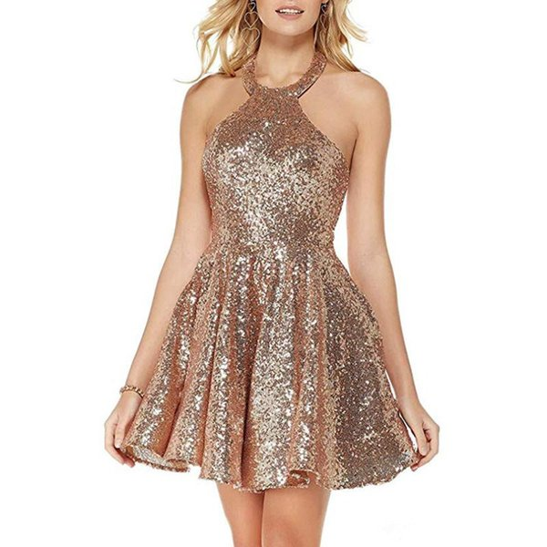Sequins Short Party Gowns with Halter Neck 2020 Backless Cocktail Dress Knee Length Bridesmaid Dress Burgundy Rose Gold