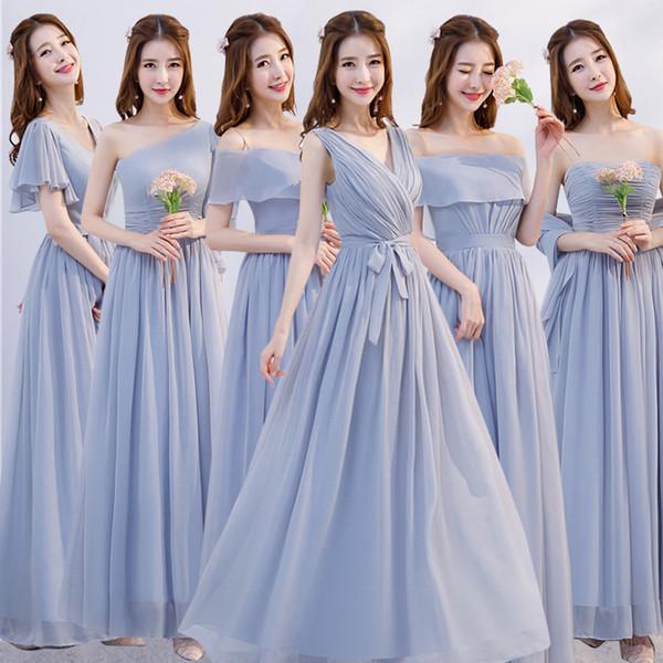 Damigella d'onore chiffon elegante vestiti lunghi abbastanza formale damigella di nozze di onore abiti di moda donne convenzionali del partito