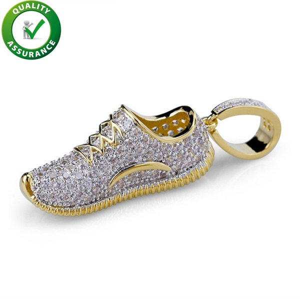Hip Hop Jewelry Mens Necklace Iced Out Shoes Pendant Necklace With Gold Chain Micro Paved Cubic Zircon Fashion Men Women Wedding Accessories