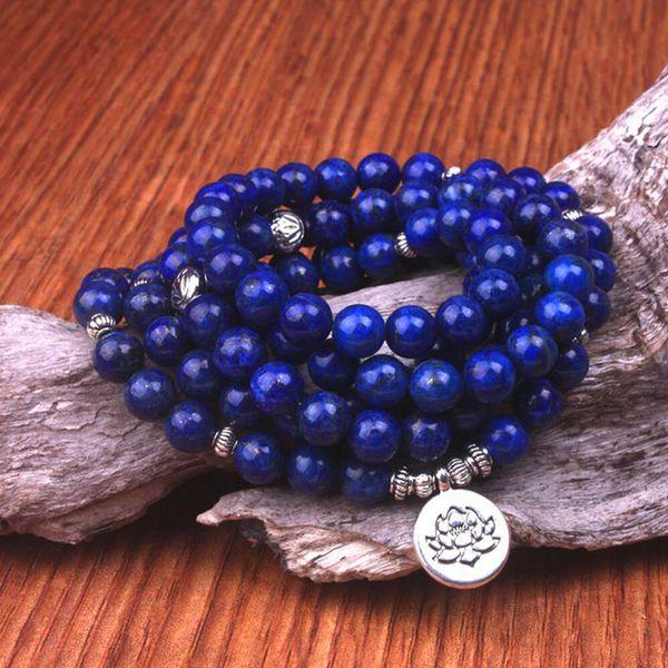 8mm Natural Lapis lazuli beads with Lotus OM Buddha Charm Yoga Bracelet 108 mala necklace dropshipping