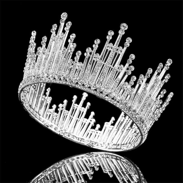 Luxury Rhinestone Round Wedding Queen King Crown For Bridal Tiaras And Crowns Bride Prom Diadem Wedding Hair Jewelry Accessories C18112001
