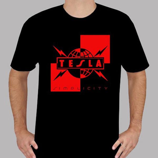 Order T Shirts Crew Neck New Tesla Simplicity Rock Legend Men'S Black Short Sleeve Office Mens Tee