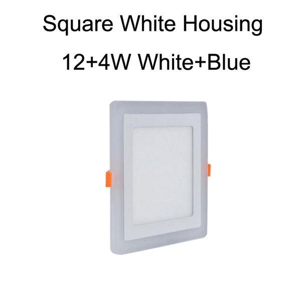 Square White Housing 12+4W White+Blue