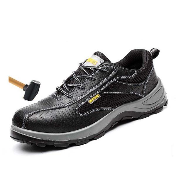 Shoes 2019Men's Outdoor Cow Split Leather Steel Toe Work Shoes Men Puncture Proof Industrial Construction Saftey Boots 36-46