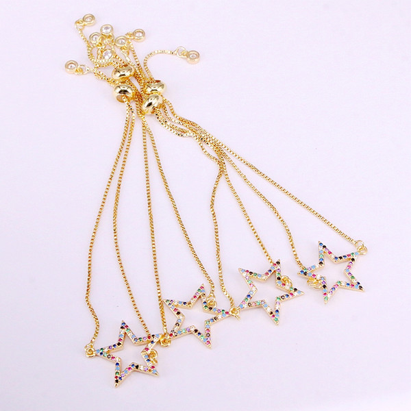 6PCS, pulseras del encanto de la estrella de la moda del pave micro brillante del Zirconia del arco iris colorido de la circonia